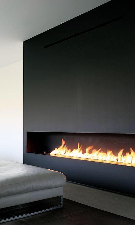 Large minimalist bioetanol fireplace
