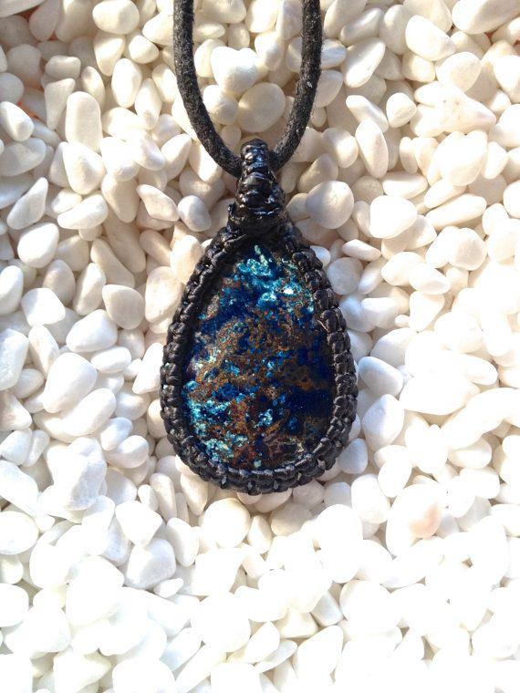 Dark Blue Azurite Pendant  Azurite Macrame Pendant  by KnotRocks