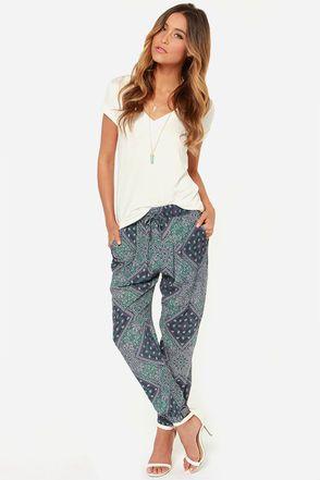 Volcom Hair Um Blue Bandana Print Harem Pants at LuLus.com!