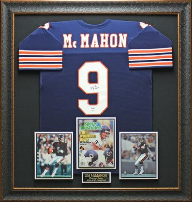 Jim McMahon Signed Bears Jersey Framed
