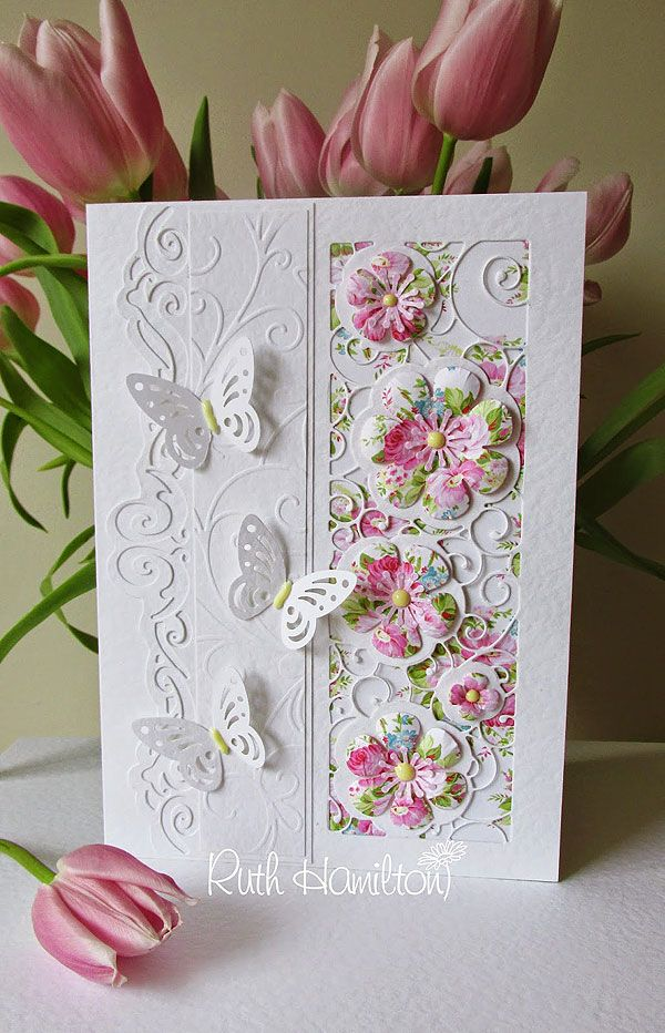 This card was made with the gorgeous Bellus Buttercup die set on the right hand side and the Lych Gate die set on the left - with s...
