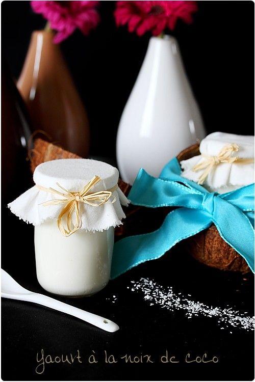 Voilà un parfum qui manquait à mes recettes de yaourt : la noix de coco. C'est terriblement gourmand. J'ai choisi de filtrer le lait pour ne pas sentir les