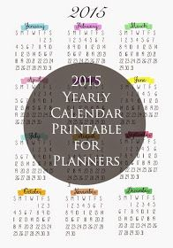 Free Printable} 2016 Year-at-a-glance Calendar by HelloCuteness ...