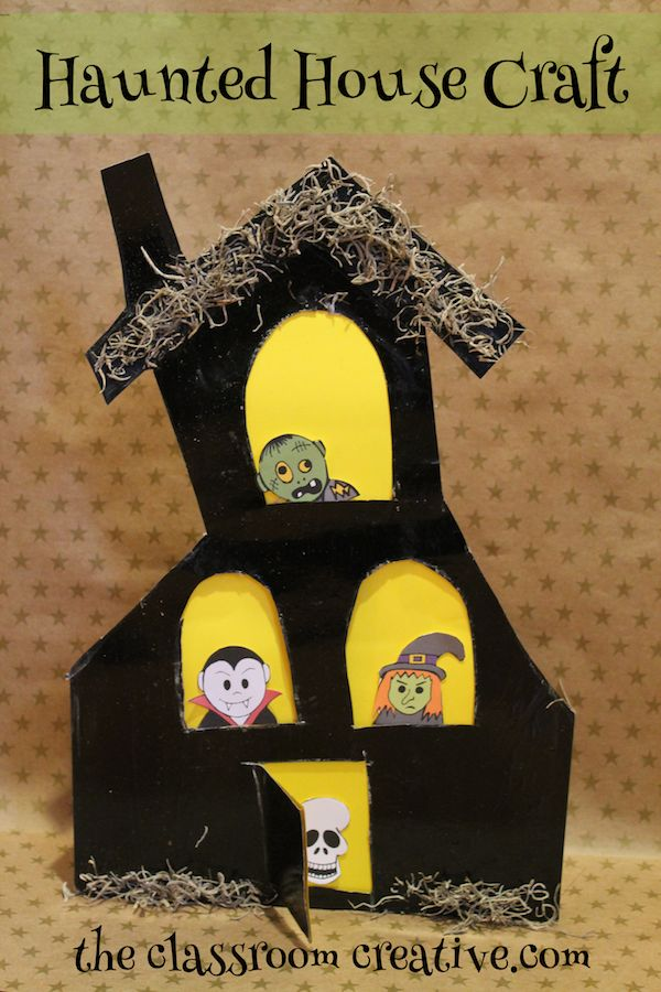 up cycled halloween haunted house craft for kids - Halloween Crafts For The Classroom