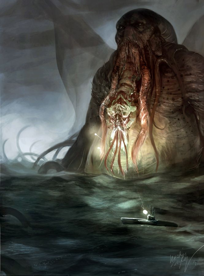 """Cthulhu: When the sailors accidentally open a """"monstrously carven portal"""", they release Cthulhu: """"It lumbered slobberingly into sight and gropingly squeezed Its gelatinous green immensity through the black doorway.... The stars were right again, and what an age-old cult had failed to do by design, a band of innocent sailors had done by accident. After vigintillions of years great Cthulhu was loose again, and ravening for delight""""."""