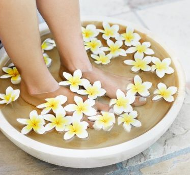 homemade pedicure soaks created by Janice Cox, author of Natural Beauty at Home.