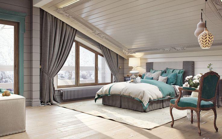 Спальня мансарда on Behance