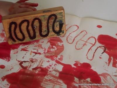 Homemade block stamping - chunky handles for toddler hands!: Yarns Patterns, Wood, Kidsart