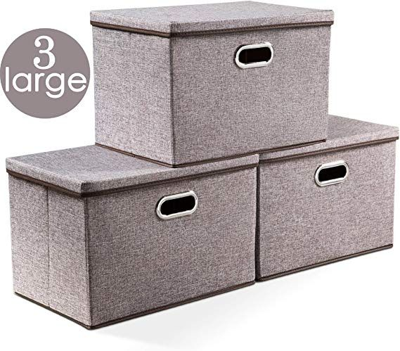 Prandom Large Collapsible Storage Bins With Lids 3 Pack Linen Fabric Foldable Stora Storage Bins With Lids Collapsible Storage Bins Plastic Container Storage