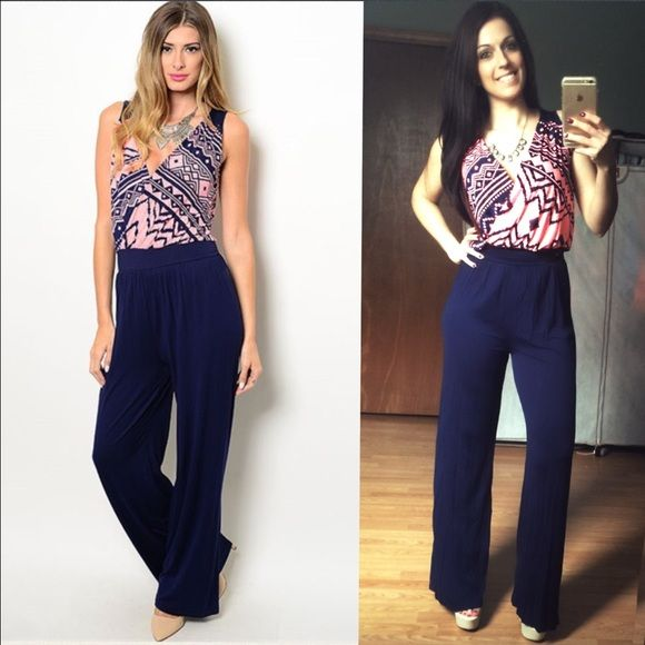 """Navy and Neon Pink Jumpsuit Romper  MADE IN USA - this AMAZINGLY COMFORTABLE full length jumpsuit features an elastic waist, slight open upper back, lightweight material with a coral/neon pink tribal print surplice cut upper and navy flowy wide leg bottom. Long enough for heels! Inseam is apprx 30.5-31"""". S(2-4) M(6-8) L(10-12) fits TTS. 95% viscose, 5% spandex. You may purchase this listing as I've created individual listings for each size. Price is firm unless bundled. Limited quantities…"""
