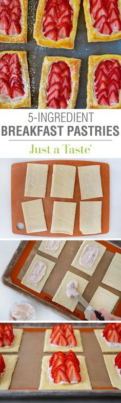 5-Ingredient Strawberry Breakfast Pastries #recipe from @Just a Taste | Kelly Senyei