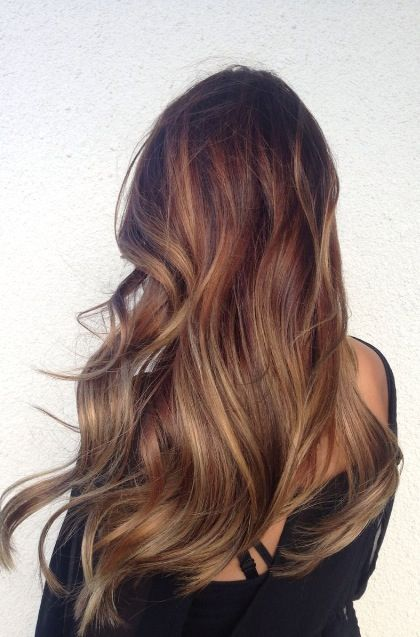 Balayage brunette sun kissed highlights