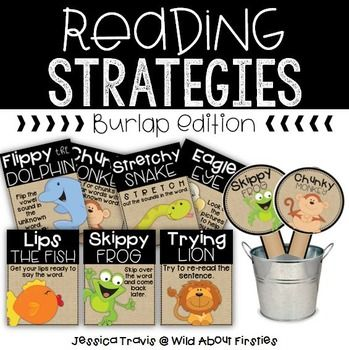 These well-known decoding strategies are proven to help our beginning readers in the classroom! These posters are in the burlap style to match your classroom dcor! I have also included the reading strategy bookmarks which are perfect to send home with students, as well as strategy sticks, which are perfect for small group activities!Please let me know if you have any questions,Jessica TravisWild About Firsties BLOG