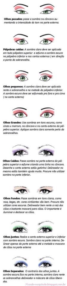 Saiba como usar sombras adequadas para cada tipo de olho!