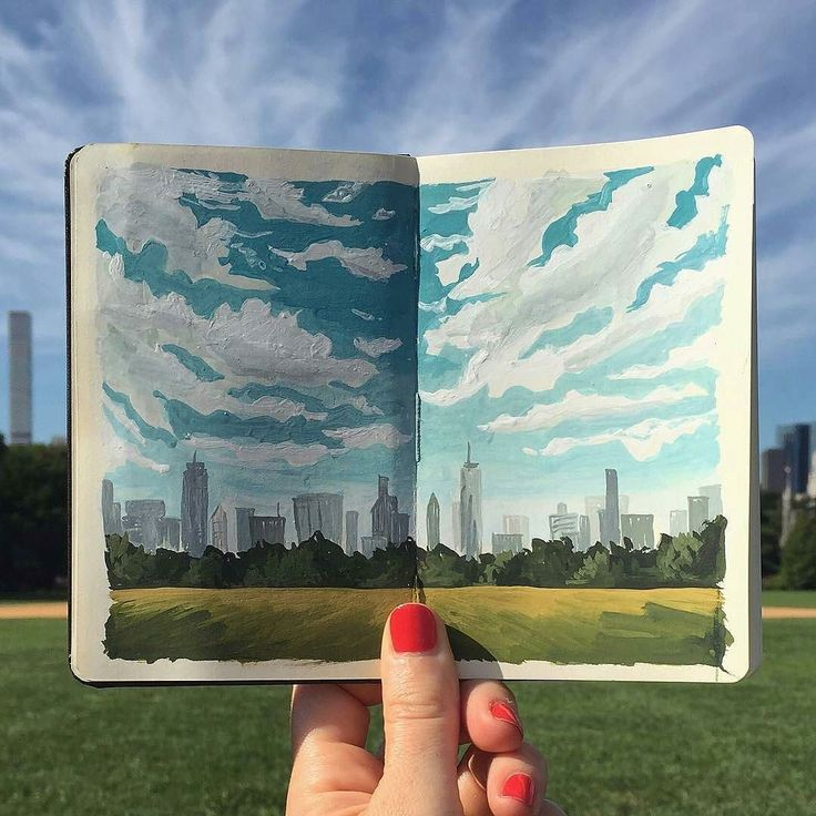 Beautiful #gouache #sketchbook #illustration by Carrie Shryock (@carrieshryock) of a glorious #sky over #NewYorkCity. Im not sure if what Carrie included in her post was meant to be a title but I liked it: Big Sky Over The Big Apple. It has a nice ring to it doesnt it? Its a lovely #cityscape #painting reminiscent of the #impressionist style which makes complete sense since Im sure Carrie had to seize the moment and capture those clouds on a canvas (of sorts) quite promptly before they blew…