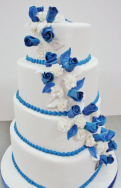 Not Quite The Blue I Want But Equally Beautiful Unique Wedding CakesWedding Cake DesignsWhite