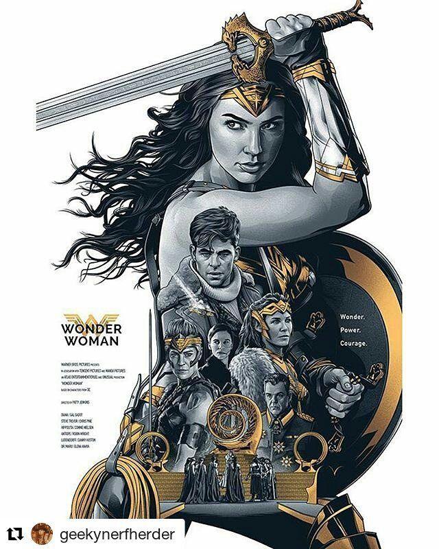 #popcultart #Repost @geekynerfherder (@get_repost) 'Wonder Power Courage' by #AmienJuugo (@amien15) Limited edition #24x36 #screenprint available through #CultClassicPrints (cultclassicprints.bigcartel.com) #CoolArt #Art #Print #WonderWoman #GalGadot #ChrisPine #Connie Nielsen #RobinWright #DannyHuston #ElenaAnaya #PattyJenkins