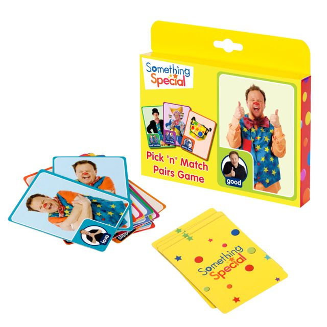Mr Tumble, Aunt Polly, Grandpa Tumble and others demonstrate 18 Makaton movements on these cards. It's your job to find the pairs! Incorporates communication and language skills into a fun filled game.  Mr Tumble makes us laugh! http://blossomforchildren.co.uk/toys-books/271-something-special-mr-tumble-game.html