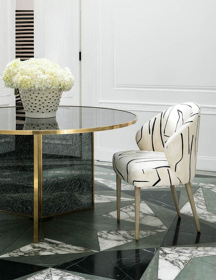 Kelly Wearstler Wetherly Occasional Chair, Fractured Glass Table and Confetti Bowl.