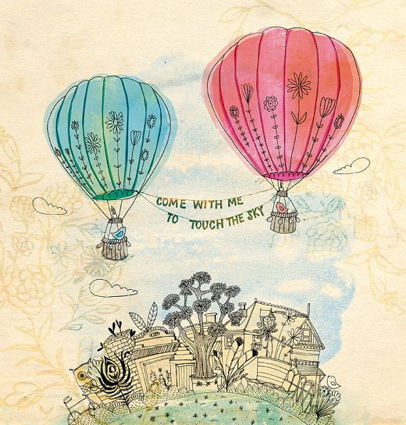 Touch the sky art print - Sweet William illustration 13x19 inches