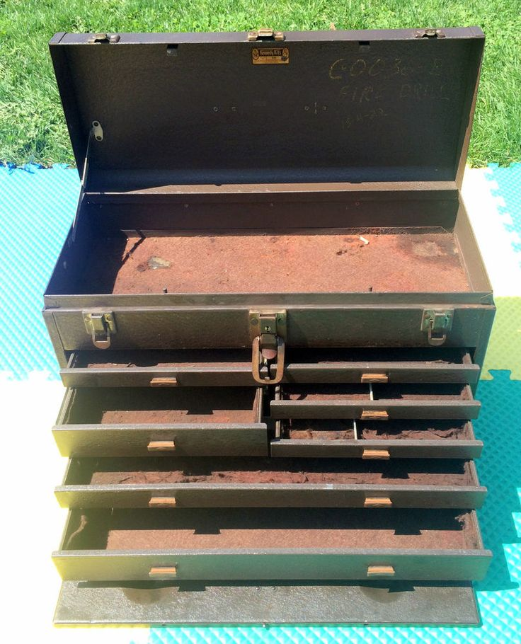 kennedy cantilever tool box. vintage kennedy kits 520 all metal industrial machinist tool box chest 7 drawer cantilever r