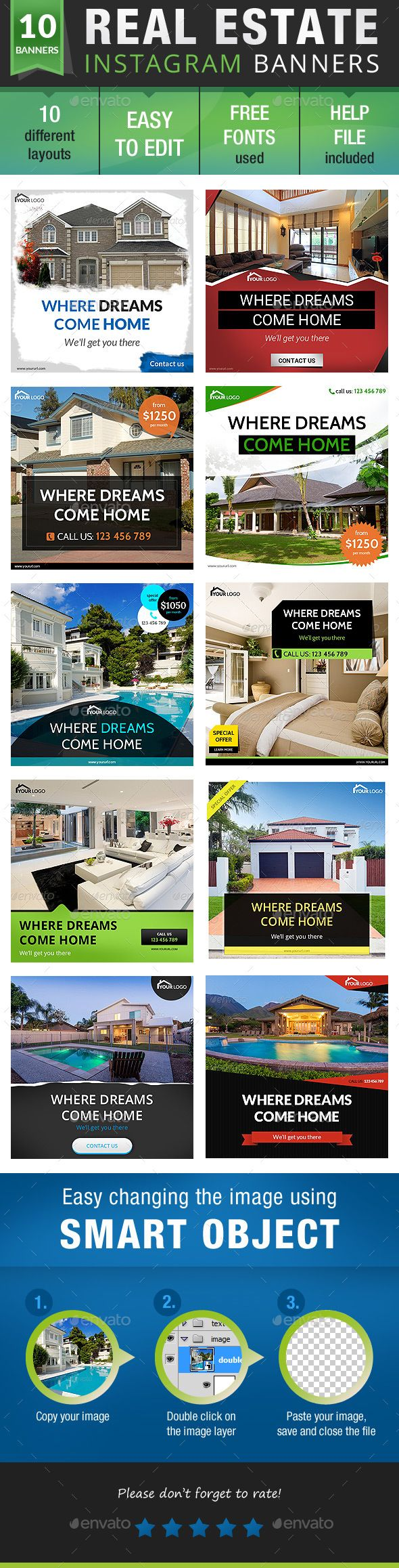 Real Estate Instagram Design Template - Banners & Ads Web Elements Design Template PSD. Download here: https://graphicriver.net/item/real-estate-instagram-bundle/19100629?ref=yinkira