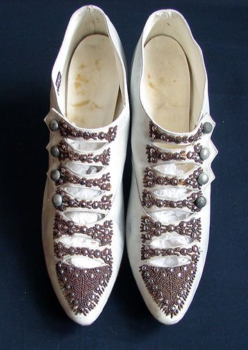"""Circa 1910, Lovely Custom Made Shoes w/ Ornate Steel Beads  In mainly good strong condition, some small bead loss and some stains on inner sole. A few small dot marks and scruff marks, all very minor. Measuring apprx. 10""""."""