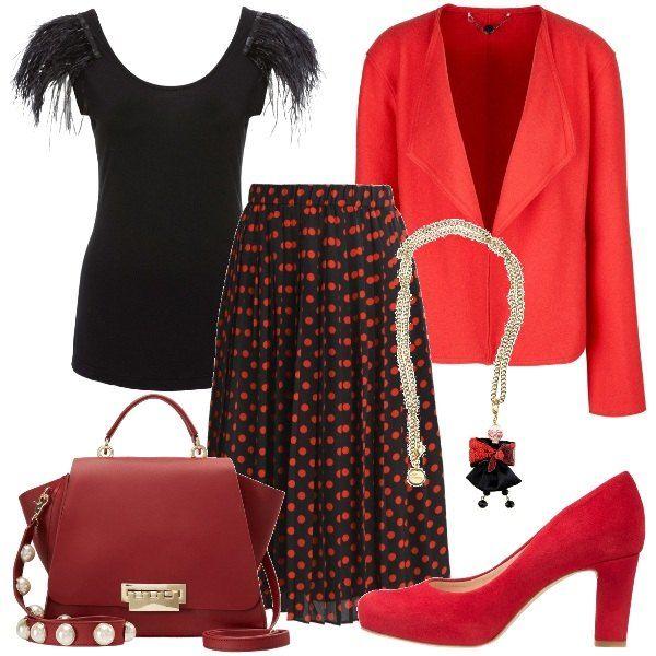 sale retailer d10f4 94ab7 Una gonna nera, a pois rossi, una maglia nera, stretta, con ...