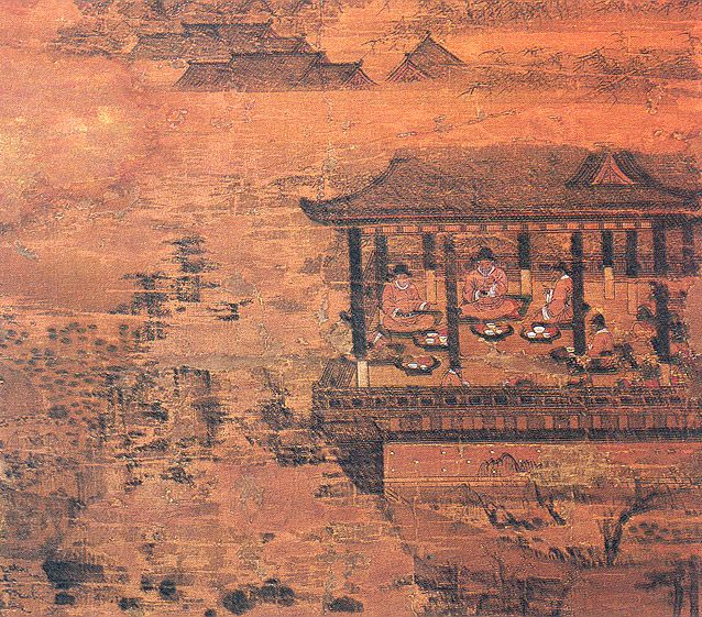 """""""Gathering of Government Officials in Lotus-pavilion"""", 16th century Joseon Dynasty. National Museum of Korea,   Treasure No. 871, Accession Number: Sinsu 2235. See: http://211.252.141.1/program/relic/relicDetailEng.jsp?menuID=002005002=2013=8050=1=10=16th=NATIONCODE=LC2=relicSearchListEng and http://www.cha.go.kr/korea/heritage/search/Culresult_Db_View.jsp?mc=NS_04_03_01=12,08710000,11=Y"""