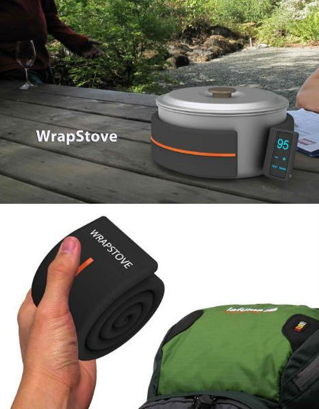WrapStove Heats Pots & Pans  No worries about extinguishing flames in dry, windy conditions with the WrapStove, a cool flexible device that wraps around pots and pans to heat them up. Tiny magnets in the sleeve help it cling to the cooking vessel, and you set the temperature via touchscreen.
