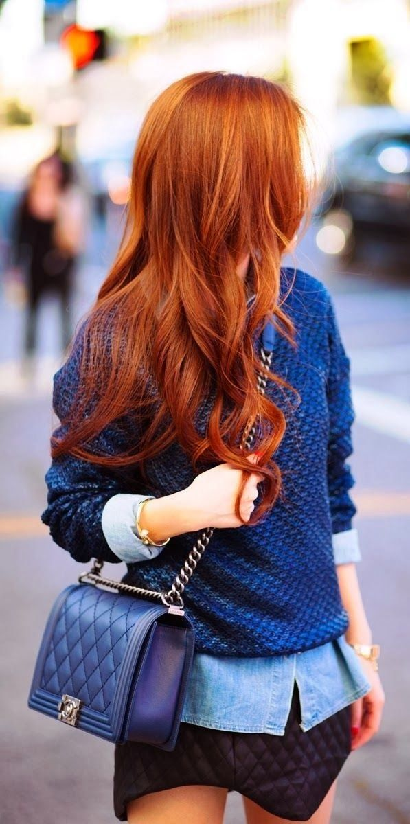 Cool blue sweater with mini skirt and shoulder bag