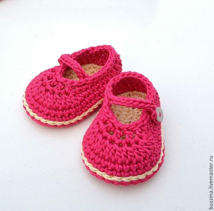 Купить Вязаные пинетки туфельки для девочки розовые пинетки для новорожденной - туфельки, пинетки, пинетки вязаные
