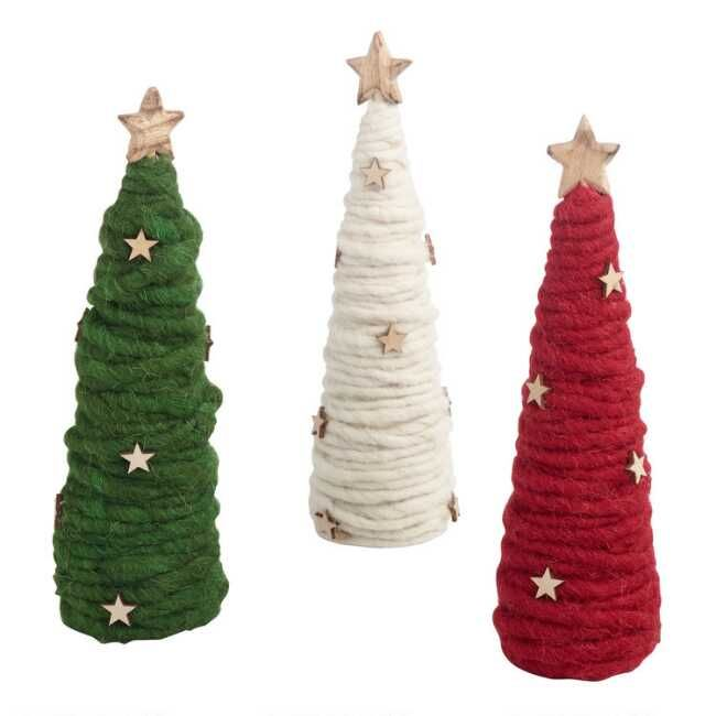 Wool And Wood Tree Decor Set Of 3 Christmas Crafts Cone