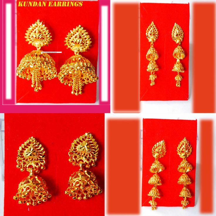 22k gold plated indian drop kundan earrings #KAPA #Goldfashionearrings