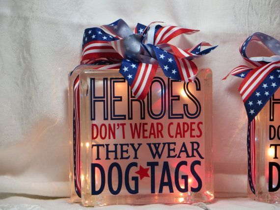 Patriotic glass block with lights.  Can be created with paint or customized vinyl design.