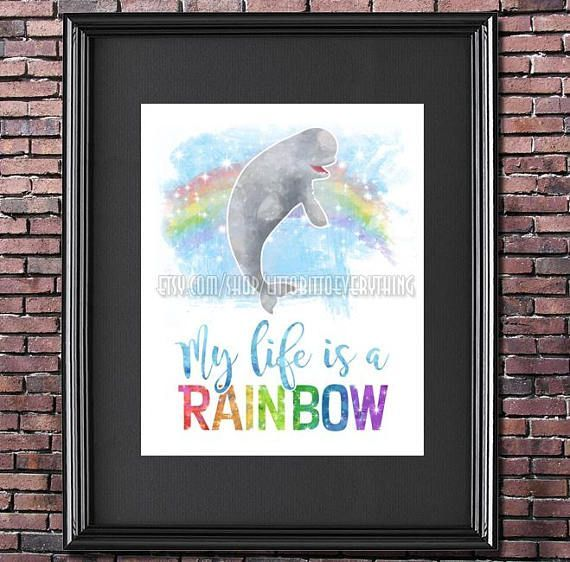 #findingdory #Bailey #Quote 8x10 Poster DIGITAL DOWNLOAD / #printable #homedecor #quotes #disney #quotestoliveby #dory #nemo     My Life is a Rainbow! Bailey the beluga whale from Finding Dory! Hands down the BEST quote from this movie.     #etsy #etsyseller #etsyshop