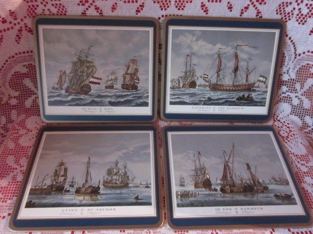 Set Of Four Pimpernel Traditional Placemats Wood With Cork On Back Sailing Ships Pimpernel