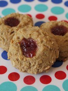 Peanut Butter & Oatmeal Thumbprint Cookies-- look yummy! 1/2 cup ...