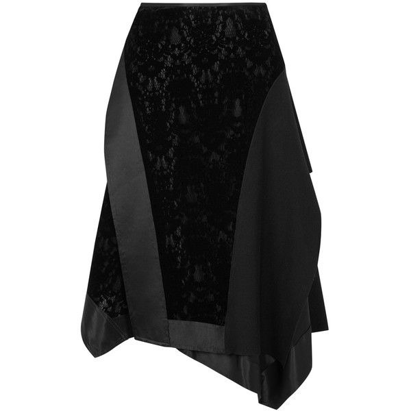 DKNY Black flocked lace wrap-effect skirt ($735) ❤ liked on Polyvore featuring skirts, flared skirt, knee length flared skirts, wrap skirts, midi flare skirt and midi skirt
