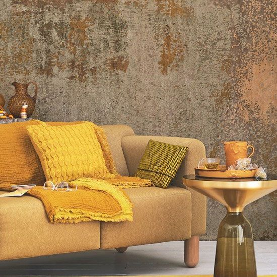olive ochre and mid browns - warm and retro could work with classical paintings too How to decorate with the Colour of the Year