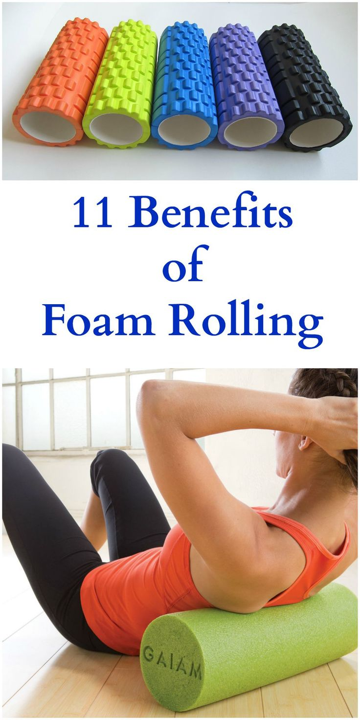 Using a foam roller as part of a regular exercise plan can help improve circulation, release knots in muscles, and can help muscles repair and heal faster.