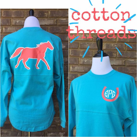 Youth Monogrammed Horse Spirit Jersey by CottonThreadsShirtCO