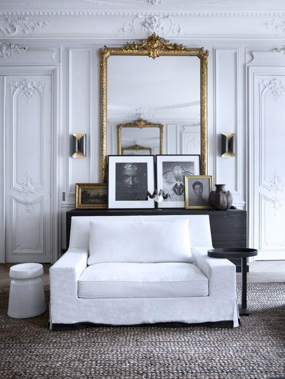 An ideal way to lean #customframed #art - simply framed against an ornately framed mirror, stunning!
