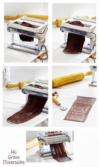 Canelones de chocolate con frambuesa (pasta fresca)