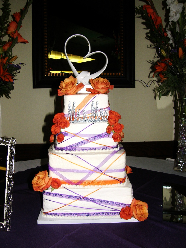 orange and purple wedding cake ideas purple and orange wedding cake purple amp orange autumn 18038