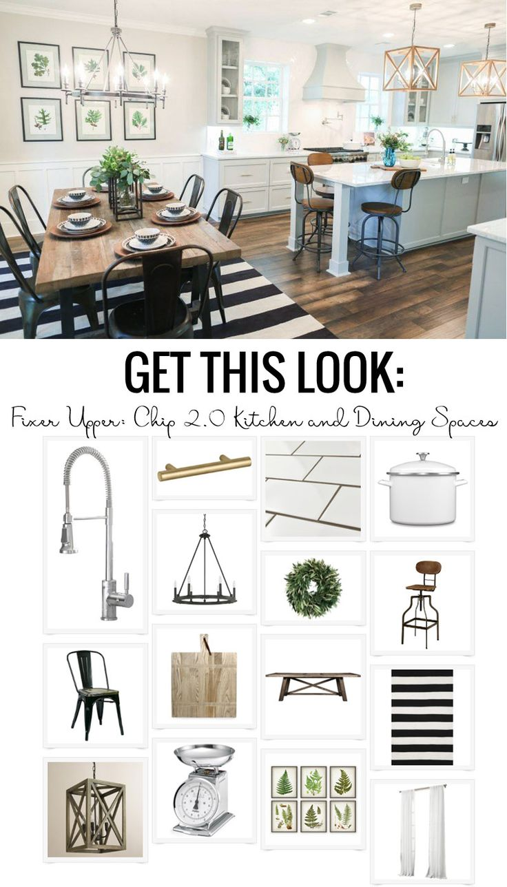 Fixer upper kitchen decor ideas - Get This Look The Fixer Upper Chip 2 0 Kitchen And Dining Spaces