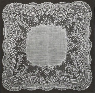 """Princess Clementine, was born on March 8, 1872 and married on November 14, 1910 to Victor Napoléon. The princess gave her lace to the Royal Museums of Art and History. It was not just pieces from her own wardrobe, but also part from her mother, Marie-Henriette and her mother. Handkerchief """"point"""" d Alençon. """"Needle Lace French origin, but this is probably a Belgian copy because this technique was well established here."""