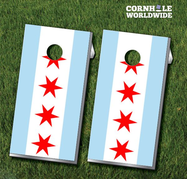 These Chicago City Flag Cornhole boards are a great way to show your city pride in the great state of Illinois Set comes with 2 boards and 8 bags.