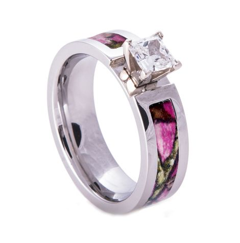 Southern Sisters Designs - Pink Camo  Wedding Engagement Ring Titanium with CZ Stone, $47.95 (http://www.southernsistersdesigns.com/pink-camo-wedding-engagement-ring-titanium-with-cz-stone/)