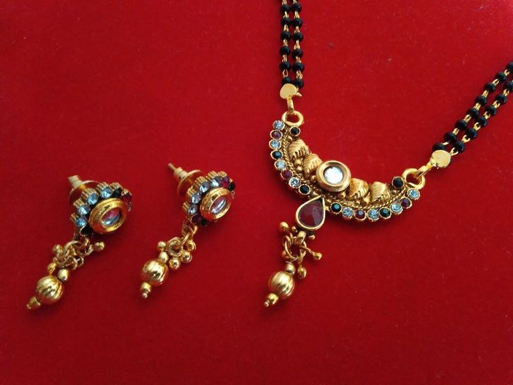 18k Gold plated Ethnic South India Long Mangalsutra /Necklace/wedding jewellery #panassh